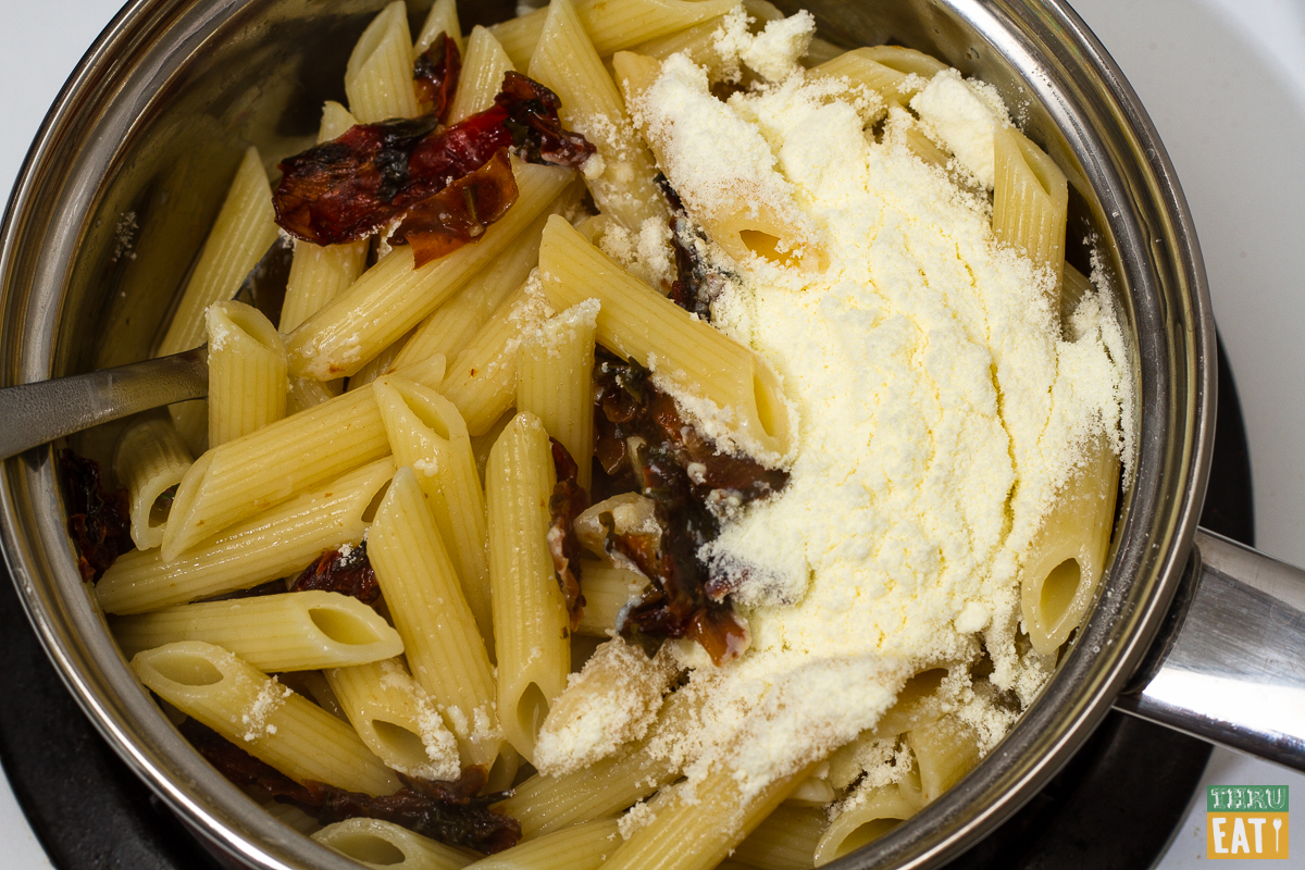 backpacking creamy chipotle penne cooking in a pot