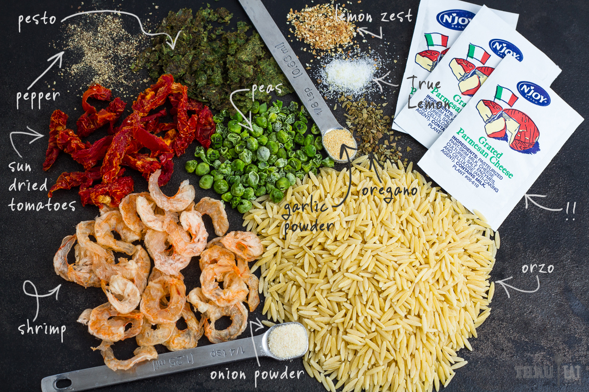 ingredients for dehydrated pesto shrimp orzo