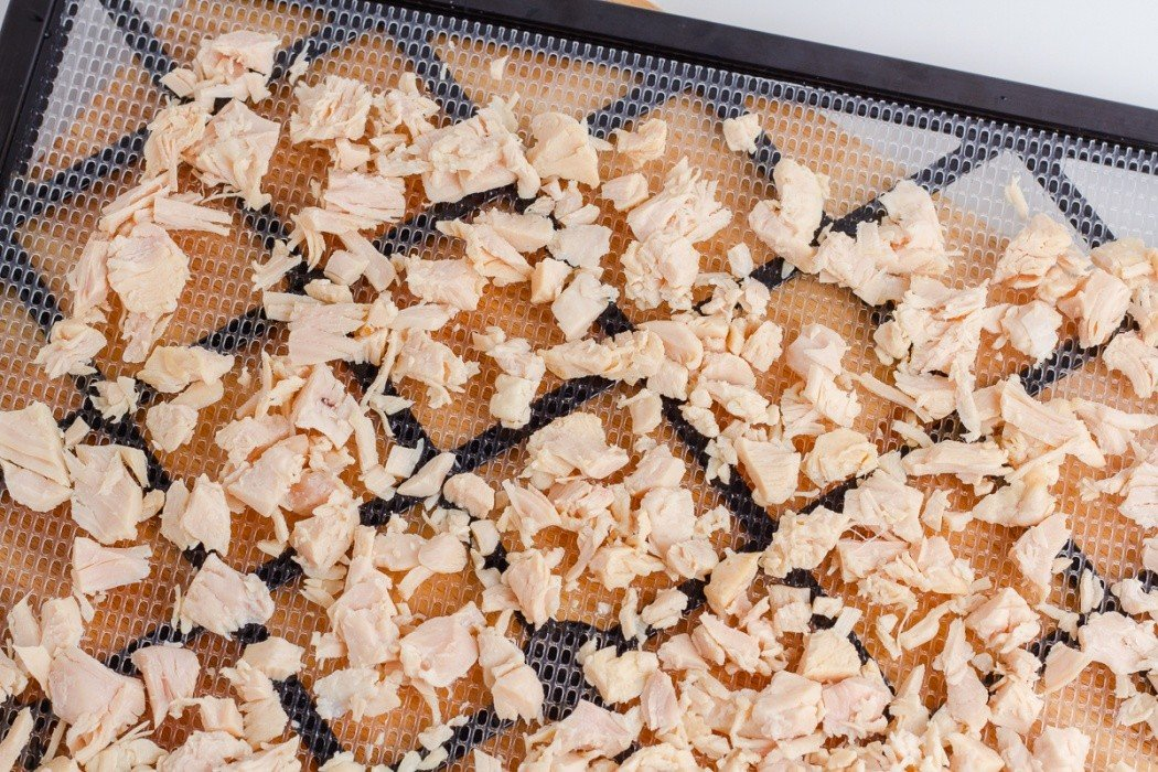 canned chicken spread on a dehydrator tray