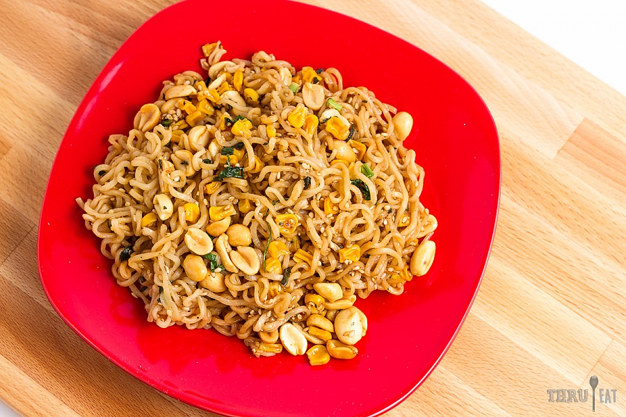 spicy sesame noodles with basil and peanuts