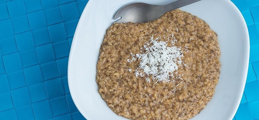 coconut chai oatmeal with a titanium spork