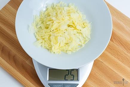 25 grams of dehydrated Greek yogurt on a scale
